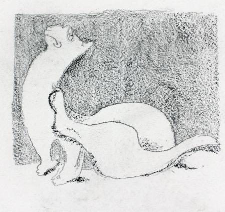 Scratching Cat by Mervyn Peake